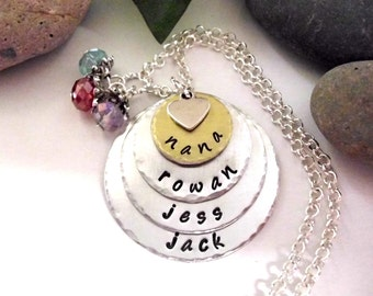 Super Sale Now Nana Jewelry, Nana Necklace, Personalized Jewelry, Hand Stamped Jewelry, Jewelry for Nana, Two Tone