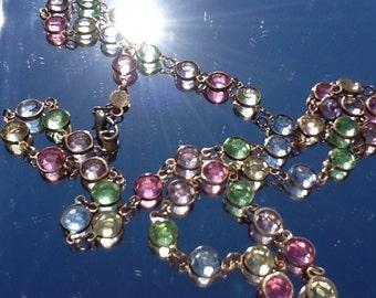 Vintage Swarovski Austrian  pastel crystal bezel set necklace
