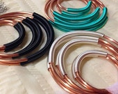 Coil Closure Copper Hoops - Set of 3 - Earrings for Stretched Lobes - Gauges