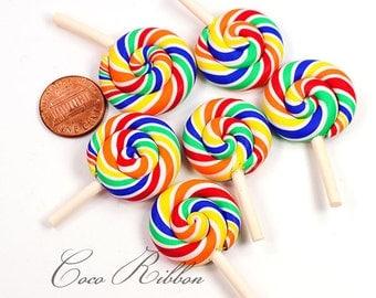 44mm 12/24/50pcs Rainbow Swirl Lollipop Candy Clay Flatback Cabochons D11