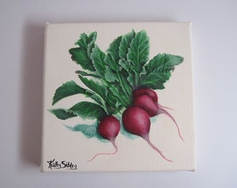 Radishes, Original Painting, Acrylic, 6 x 6 inches,152.40 x 152.40 mm, Gallery Wrapped Canvas, Kitchen Art, Home Decor Painting