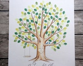 Pre-inked Leaves. Wedding Guest book Thumb Print Tree. Original Water Color Illustration ADD-ON