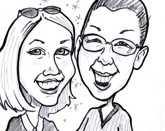 Black and White Caricature of Two