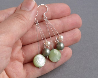 Sage Green Bridesmaids Earrings - Celadon Pearl Drop Earrings - Pistachio Dangle Earrings - Olive Bridesmaids Gifts - Bridal Party Wedding