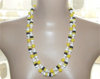 Vintage 50s Double 2 Strand Novelty Beaded Necklace Choker Yellow Black & White Faceted