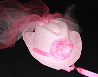 Cowgirl Hat - Girls Flower Girl Cowboy Hat - Girls Western Wedding Party - Pink Hat with Pink Flower and Tulle Veil -  CB112