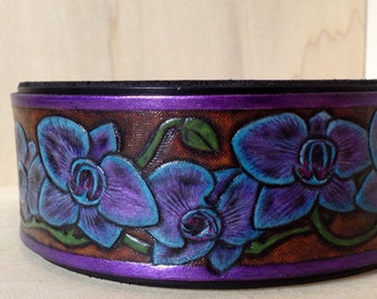 Customizable Orchid Flower Carved Collar