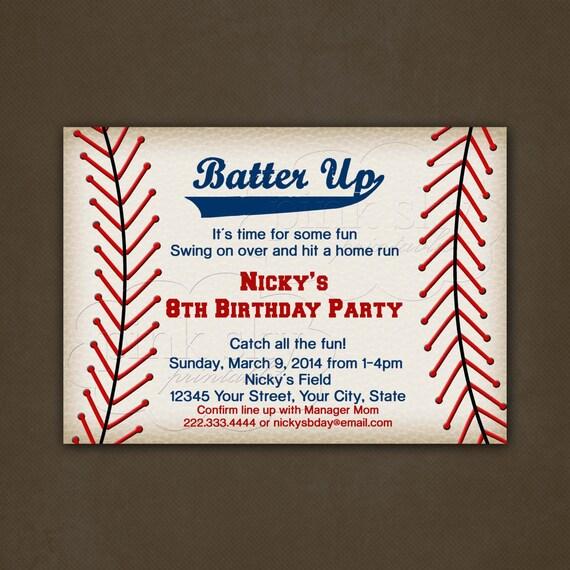 Vintage Baseball Birthday Invitations: Baseball Birthday Invitations, Printable File, Baseball