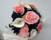 Bride bouquet Wedding bouquet pink rose white real touch calla lily