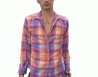Vibrant Plaid Button-Up - Small