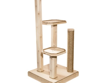 48 Inch Natural Cat Tree - Solid Wood Cat Tree - Cat Scratching Post