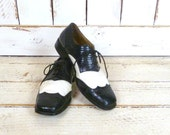 Mens vintage Stacy Adams snakeskin leather black and white oxford shoes/croc/wing tip oxfords