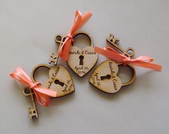 20 Heart and Key Wedding Favors skeleton key