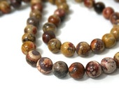 Birdseye Rhyolite beads, 10mm round natural gemstone, full & half strands available  (886S)