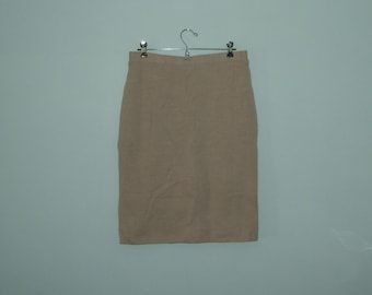 Vintage Ladies Beige Pencil Skirt Italian Wool