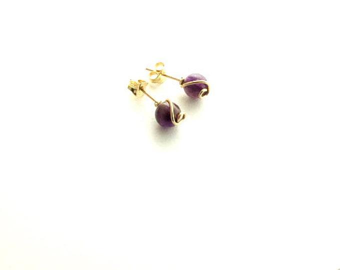 Gold Post Earrings,Gold Stud Earrings, Amethyst Earrings, Minimalist Earrings,Delicate Earrings,Handmade,Gift for woman