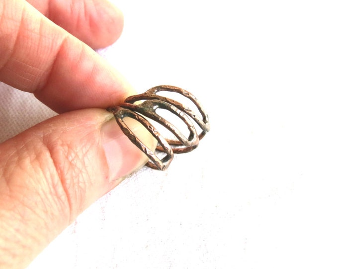 Minimalist Stackable Rings, Rustic Stacking Rings,  Primitive Stack Rings, Copper Ring, Delicate Ring, Old World, Handmade Gift
