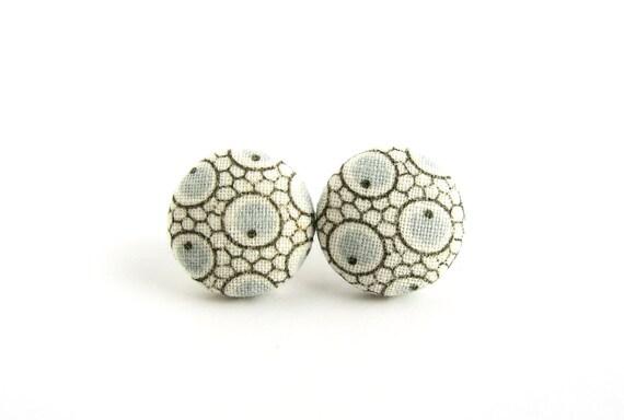 Funky button earrings - Tiny beige blue fabric earrings - round circle stud earrings