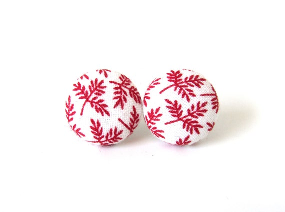 Red white earrings - red fabric earrings - red button earrings - white stud earrings -  fall autumn leaf vintage retro style