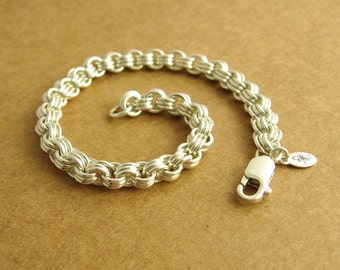 Sterling Silver Chainmaille Bracelet, 3 in 3, 3 by 3, Ready To Ship