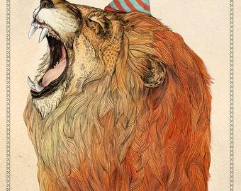 Birthday Lion // A4 print
