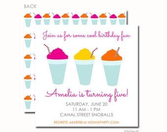 Snoball Invitations, Snowball Party, Snow Cone Invitations, Pool Party, Birthday Party Invitations