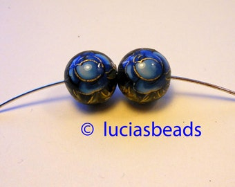 NEW Pretty Set of Japanese Tensha Beads Blue Rose on Black in 12 MM