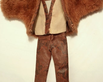 3 Piece Faux Fur Suede Leather Outfit Barbie Size Doll