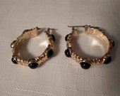 Vintage / LIZ CLAIBORNE / Earrings / Hoops / Pierced / Lucite / Black / Gold / Designer / Signed / Classic / Retro / Trendy / Accessories
