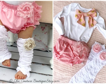 Newborn Baby Girl Coming Home Outfit Set of 3 Items, Lace Diaper Cover, Leg Warmers Bow Bodysuit Pink Roses Gold. Mother's Day Outfit Summer