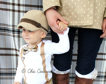 Baby Boy Bow Tie & Suspenders Bodysuit. Brown, Tan, Chocolate Plaid Cake Smash 1st Birthday Outfit, Coming Home Outfit. Holiday Outfit