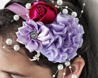 SUMMER SALE 0 to 12m Lilac Newborn Headband, Raspberry Rose Girl Infant Headband, Luxury Wedding Baby Headband, Baby Flower Headband Prop