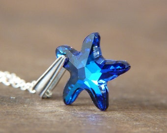 Sterling Silver and Crystal Starfish Pendant Necklace - Bermuda Blue Swarovski Star - Shimmer Sparkle Glitter Jewelry