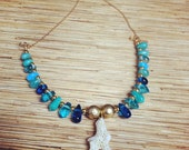 Blue Teardrops and Coral  Necklace