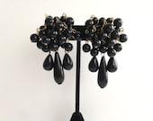 Vintage Black Bead Cha Cha Clip Earrings