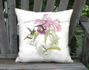 White Tailed Emerald Hummingbird Pillow Cover - French Cottage Bird Pillow -  16x 18x 20x 22x 24x 26x Inch Linen Bird Cushion Cover