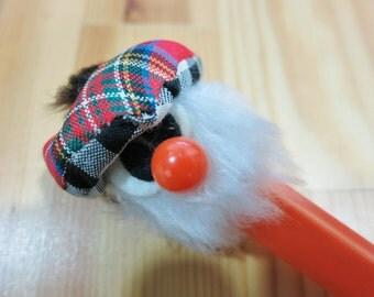 Sale Was 10 - NOS New Never Used Vintage 90s Scottish Souvenir - Orange Ball Pen, Owl Pen Cap complete with Tartan Hat - refill replaceable