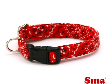 Bandana Dog Collar - Red Bandana Paisley - Mini Small Medium Large XL Dog Collar