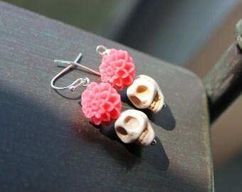 Sugar Skull and Coral Orange Dahlia Earrings