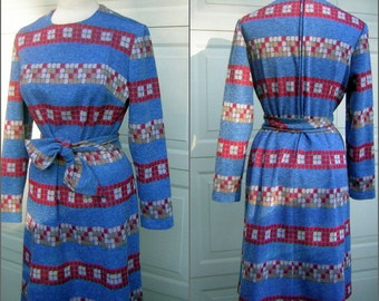 Blue Knit Dress Matrix Print Kay Windsor Vintage 60s - 3 looks in one - Medium