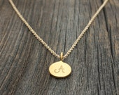 Gold Initial Necklace - Personalized Jewelry . 24K Gold Plated Initial Charm Disc Pendant . Mother Gold Initial Necklace
