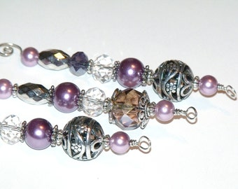 Purple and Silver Icicle Ornaments - vintage inspired Christmas decor