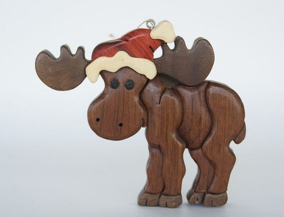 Moose Intarsia Wood Carving Christmas Ornament By