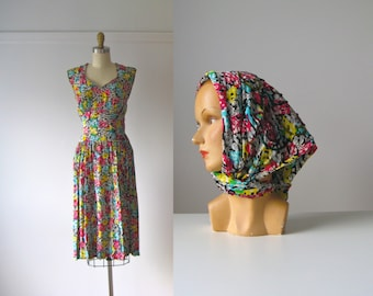 vintage 1940s dress / 40s two-piece outfit / Rainbow Confetti