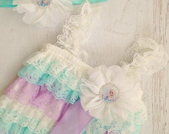 Frozen Petti Romper Set - Lace Petti Romper and Headband Set - Baby Girl Toddler Photo Prop READY TO SHIP