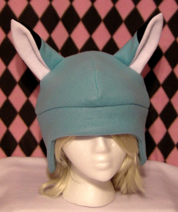 Kitsune Fox Blue Fleece Hat - MADE TO ORDER