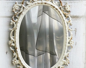 C H I P P Y   Oval Shabby Chic Mirror French Country Nursery Vanity