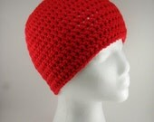 CHOOSE Your STYLE - Solid Classic Style Beanie Hat in Cherry Red - Multiple sizes Made to Order