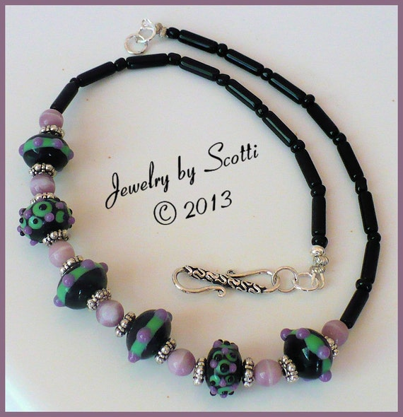 Lampwork Glass Bumpy Beads Lavender Green Black Necklace