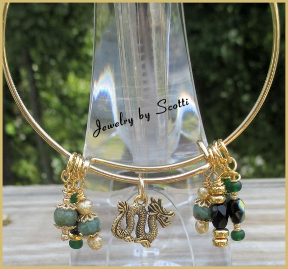 Expandable Dragon Bracelet // Gold Plated Wire // Adjustable // Charm Dangles // SRAJD